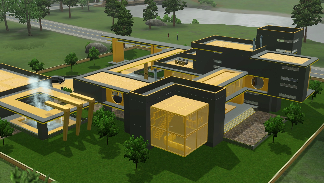 Sims 3 futuristic grey and yellow villa by ramborocky