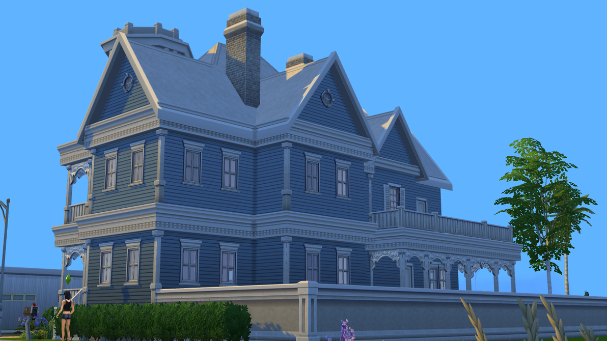 sims 4 blue victorian house by ramborocky d8tycud - 39+ Sims 4 Small Victorian House Plans Pictures