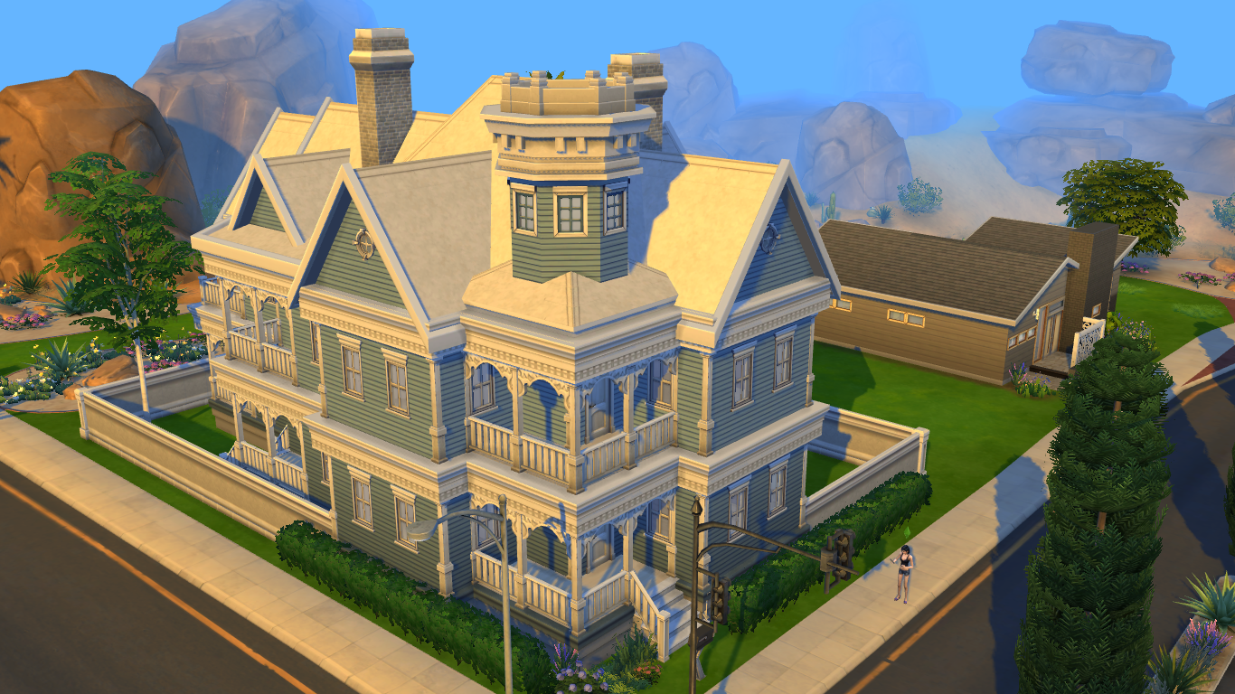 ... Sims 4 Blue Victorian House By RamboRocky