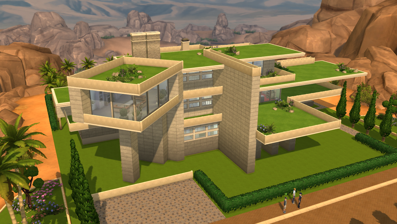 sims 4 modern gardens house by ramborocky - Sims 4 Home Design