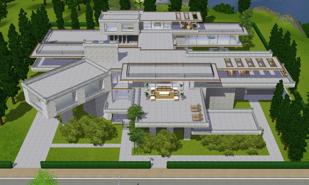 Sims 3 modern luxury mansion by ramborocky on deviantart for Minimalist house sims 2