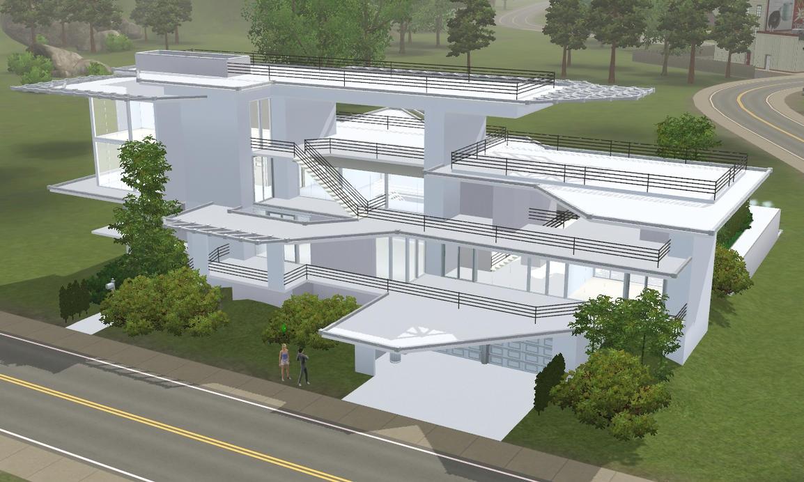 Sims 3 modern white mansion by ramborocky
