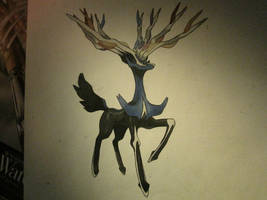Pokemon painting - Xerneas by Crotchmonsoon