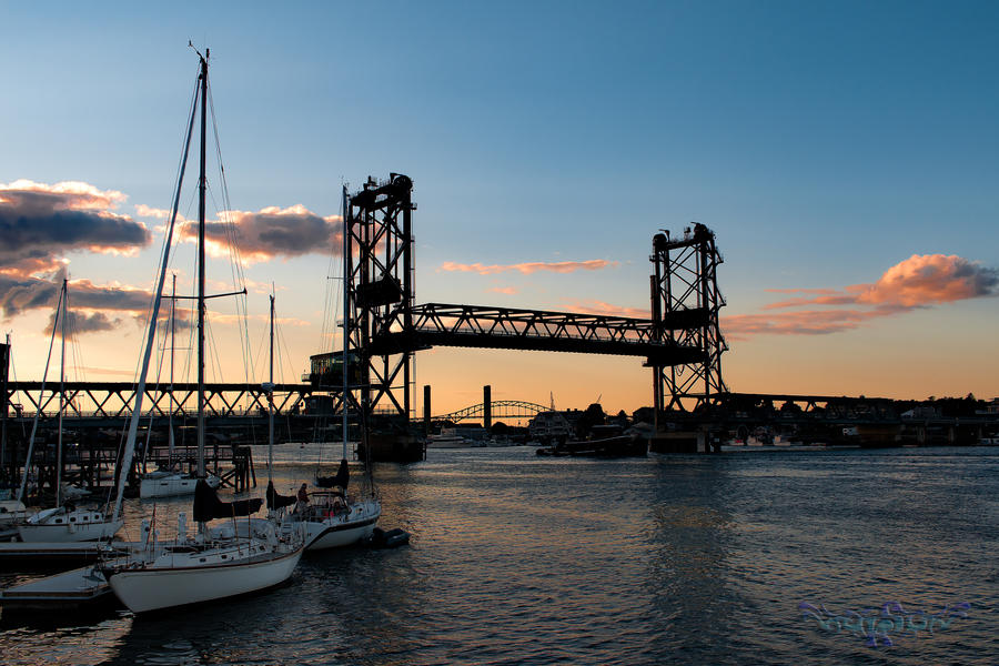 Portsmouth bridge at sunset by KBL3S