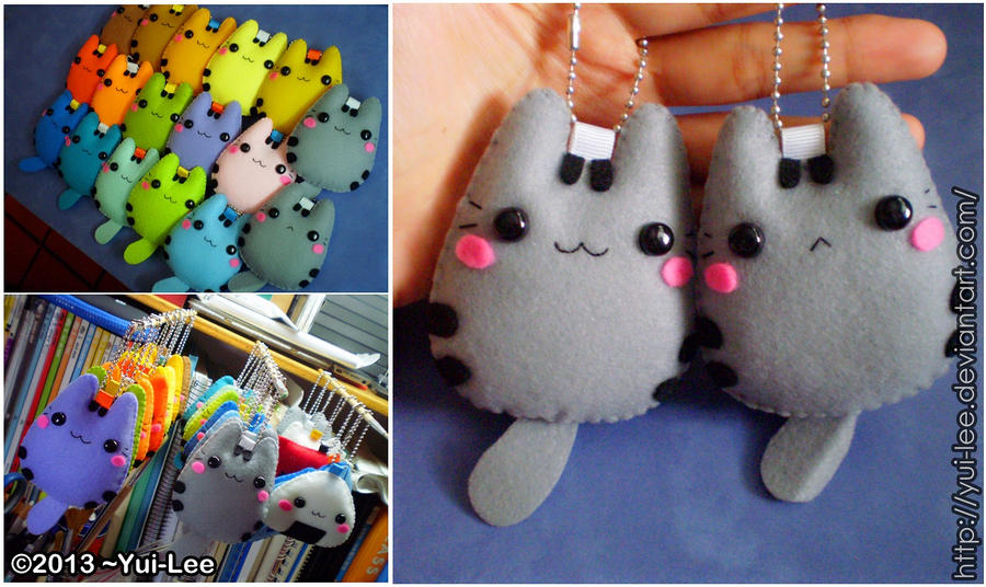 Felt craft pusheen the cat chibi all color by yui lee on for Felt arts and crafts