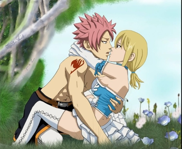 Natsu lucy first kiss by melikecan on deviantart