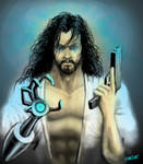 Cyborg Korean Jesus with Gun and Robotic Arm