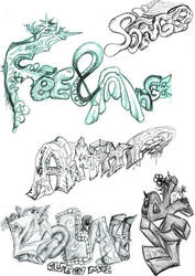 Mix of name tags n logos doodles patchwork 1