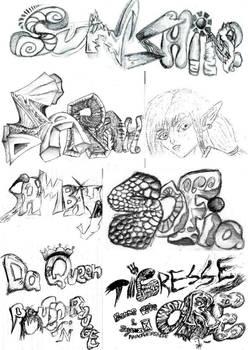 Mix of name tags n logos doodles patchwork 2