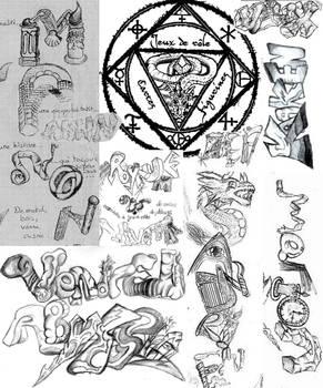 Mix of name tags n logos doodles patchwork 6