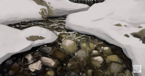 Winter Stream by tohdraws