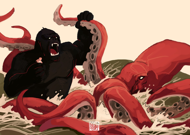 K for King Kong VS Kraken by tohdaryl