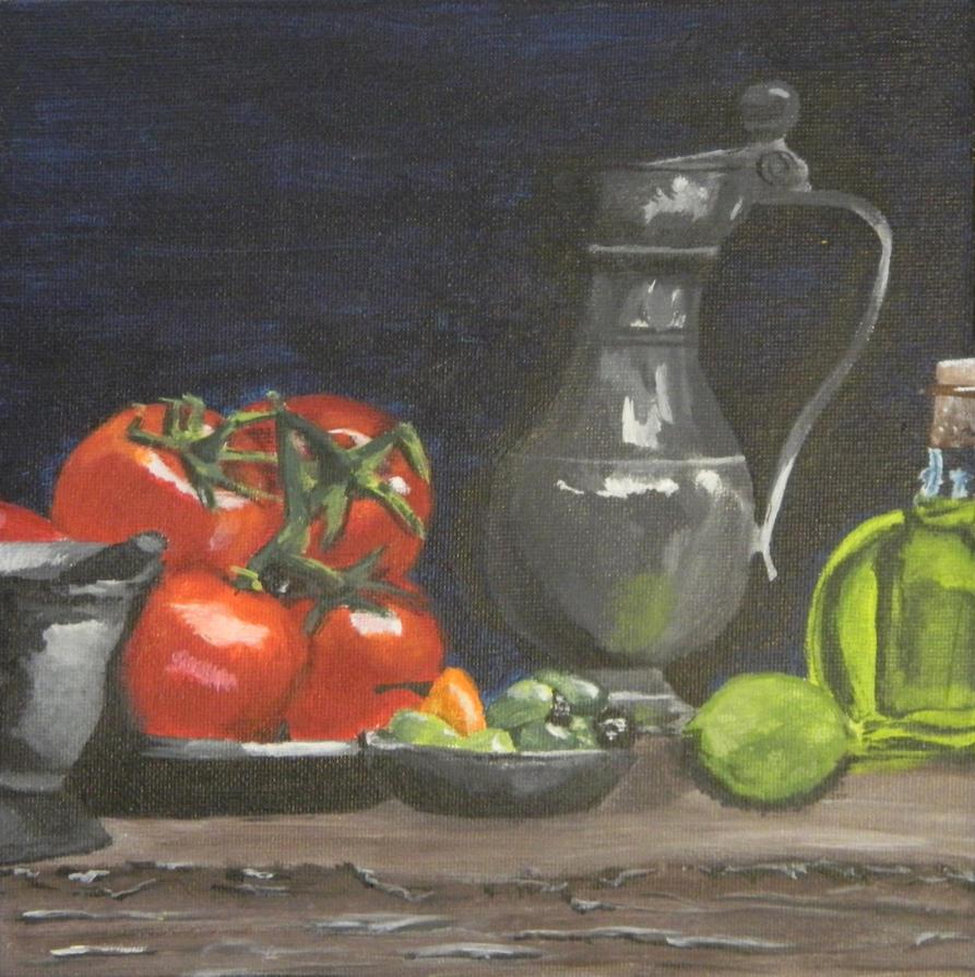 Acrylic Still Life by sarahattalla