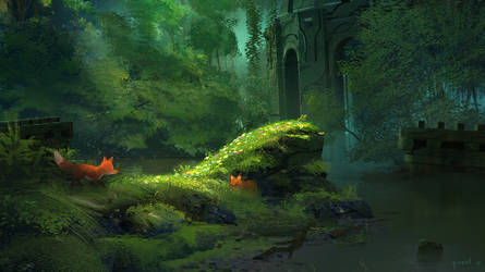 Foxes in the Ruins by PavelElagin