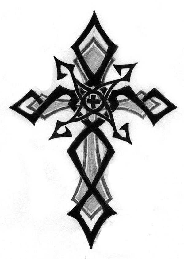 It's just a photo of Nerdy Tribal Cross Drawing