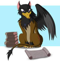 Evelyn the scholar griffin by DragonJuno