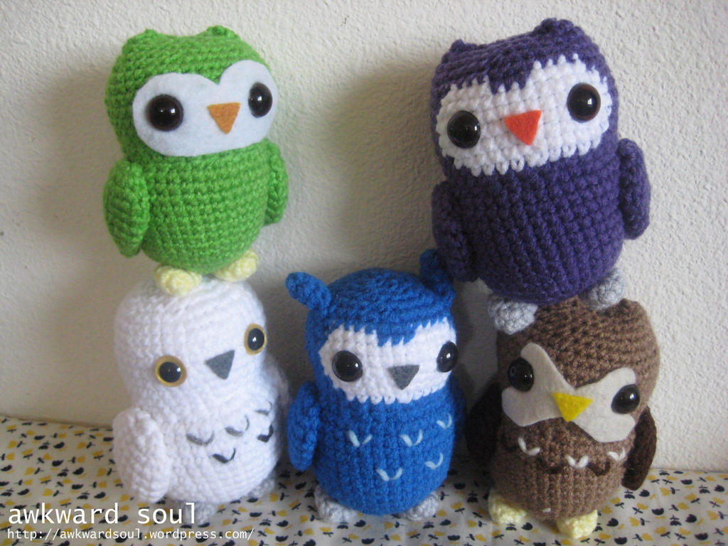 Amigurumi Patterns Owl : - Owl Amigurumi Group Shot 1 - by awkwardsoul on DeviantArt