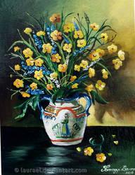 Buttercup in folk vase