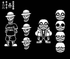 (Filler) Beta Papyrus and Sans Sprites by EllistandarBros