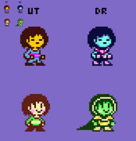 (Deltarune) Frisk and Chara Battle Sprites by EllistandarBros