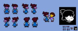 (Deltarune) Little Susie Sprites by EllistandarBros