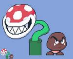 (Mario Bros.) Piranha Plant and Goomba Pixel-Art