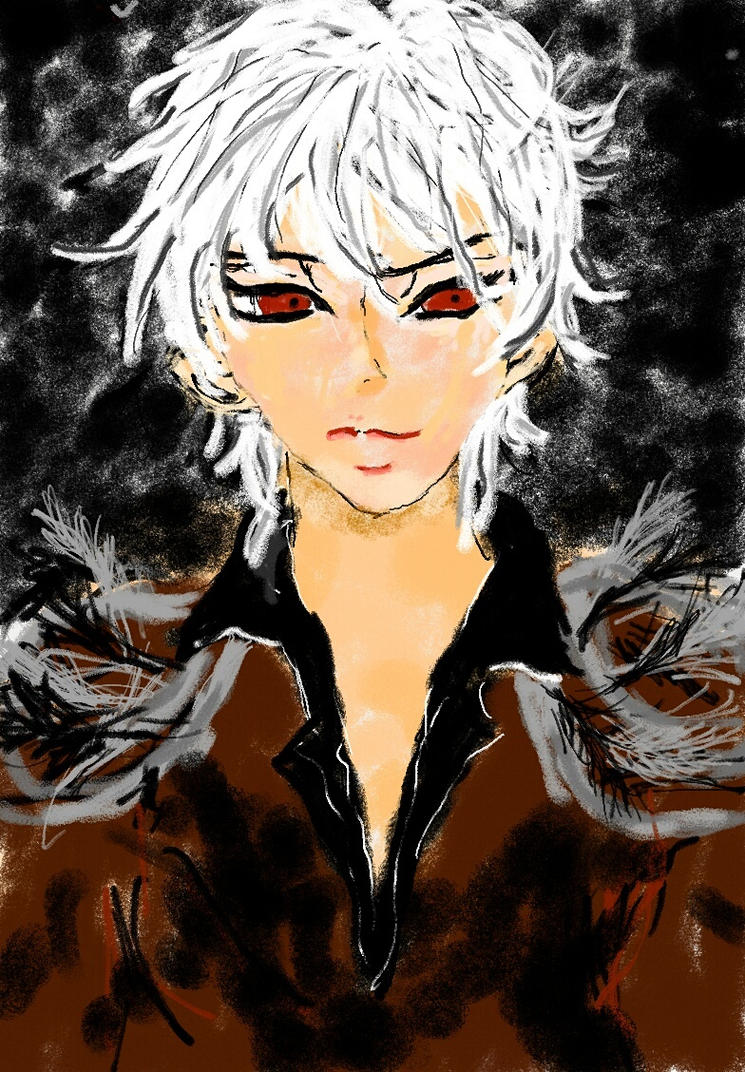 Samsung Galaxy Note~Red Eyed, White Hair Anime Guy By