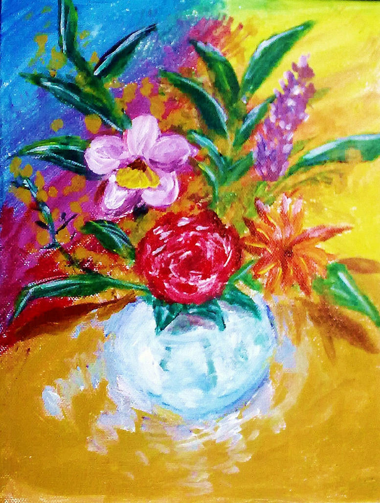 flowers in a crystal vase acrylic painting by muartgl on