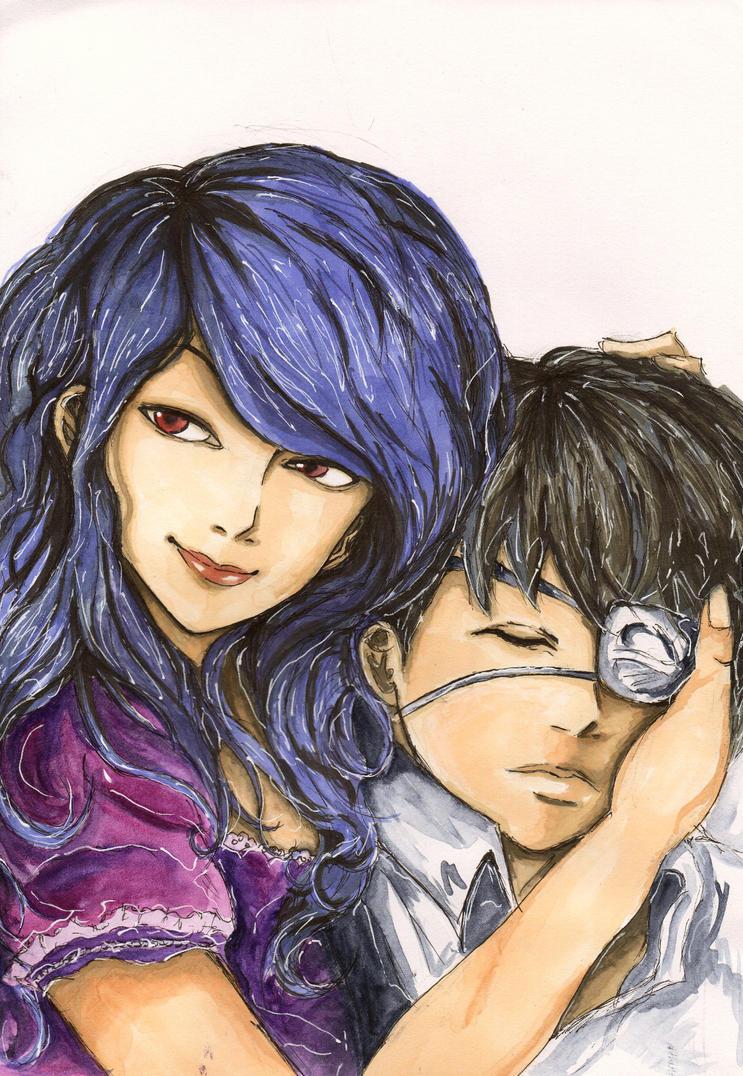 Tokyo Ghoul -Rize and Kaneki by MuArtGL
