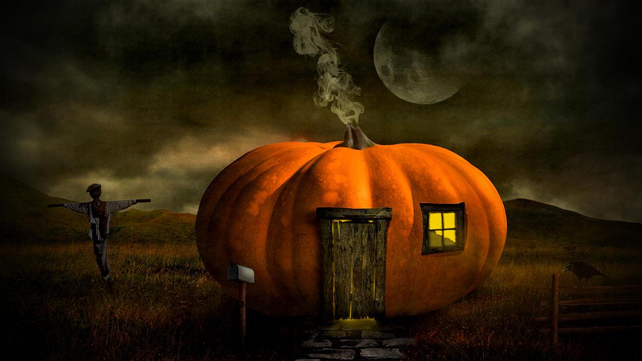 halloween pumpkin house by -#main