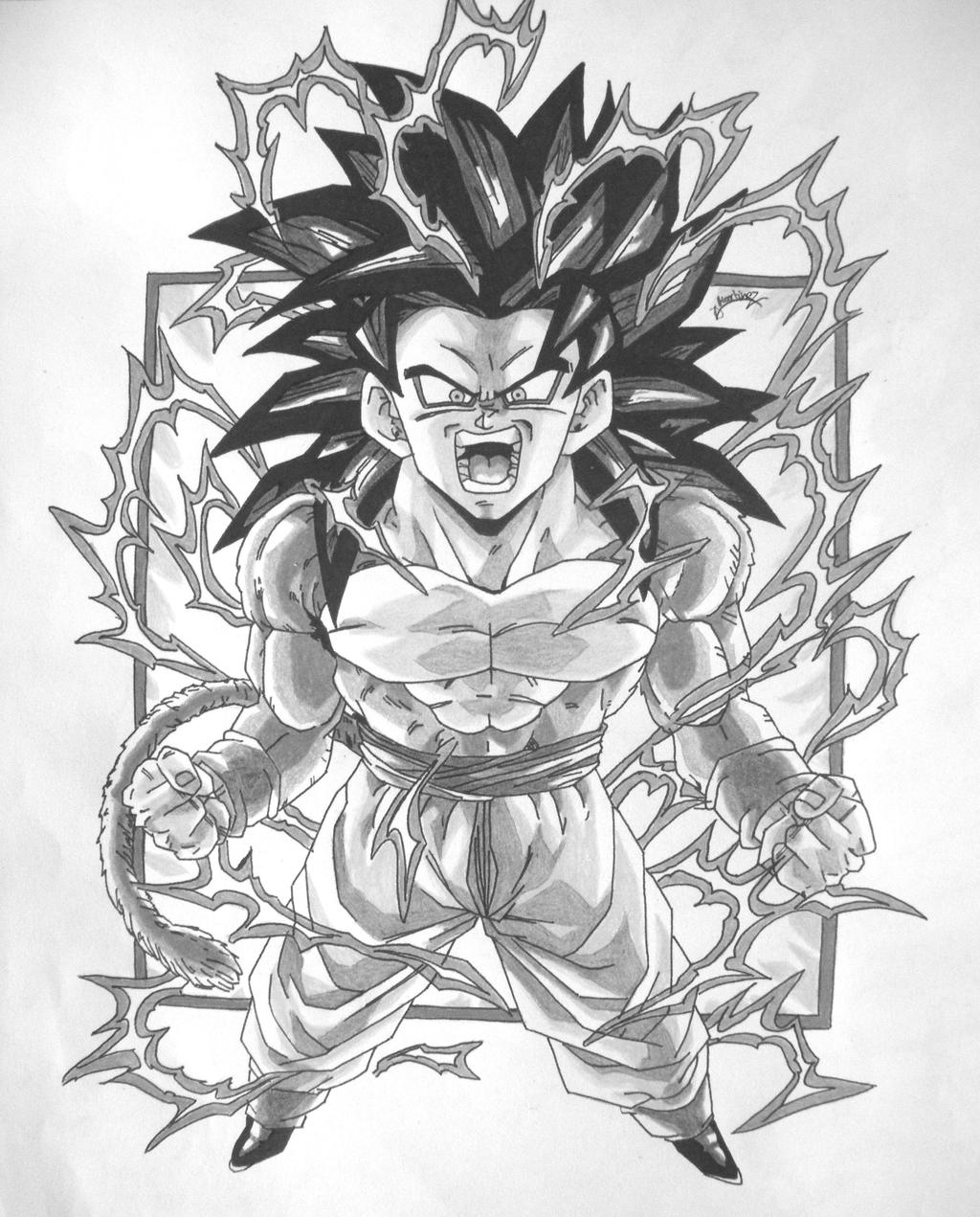 Image 7 Of 50 Dragonball Gt Black And White Goku Ss4 V1 By