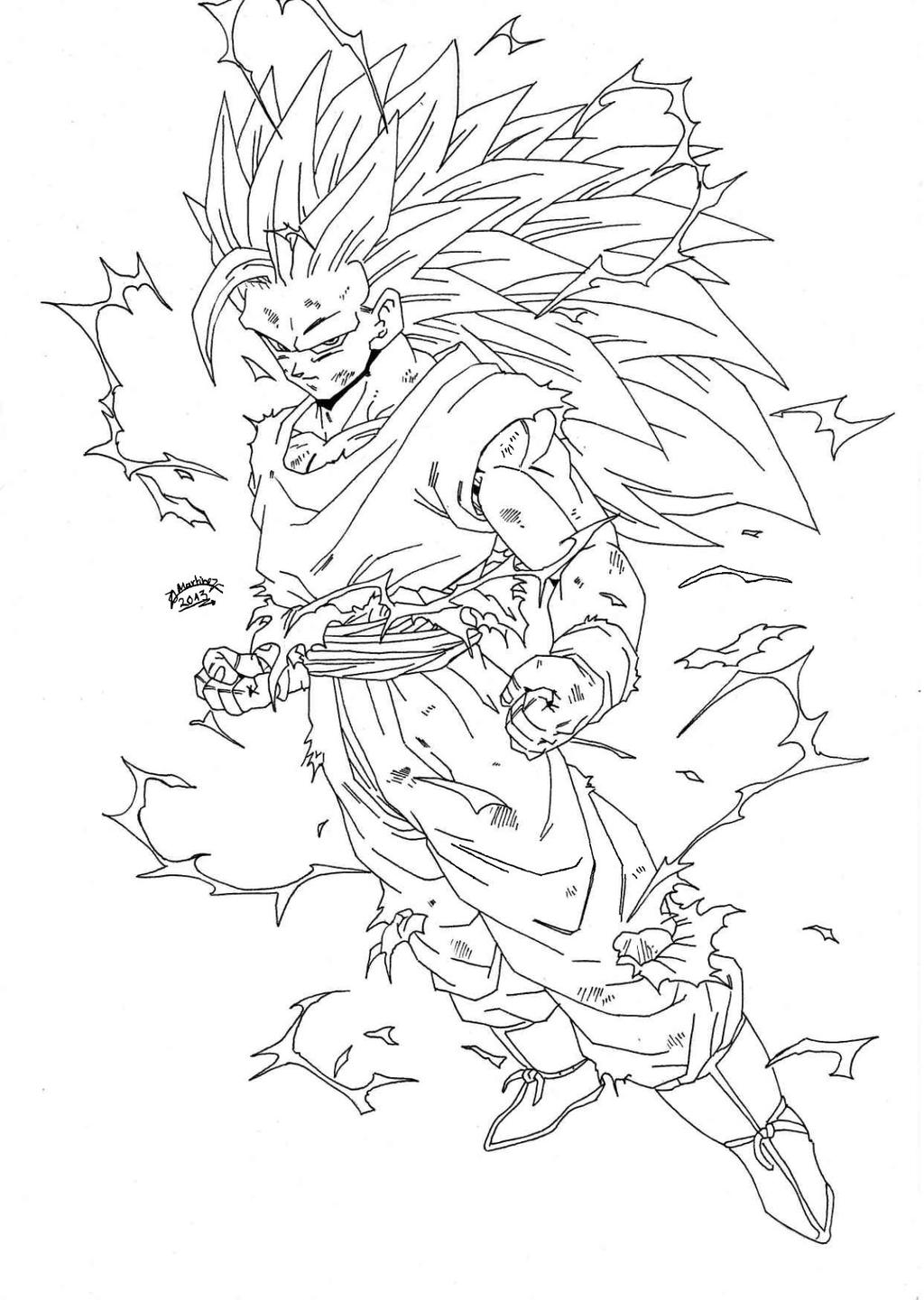 Dragonball z regreso goku super sayan 3 lineart by for Dbz coloring pages goku