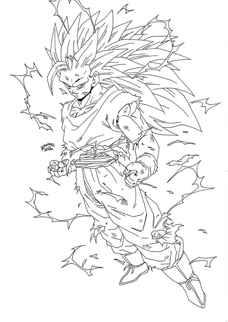Dragonball z regreso goku super sayan 3 lineart by for Dragonball coloring pages