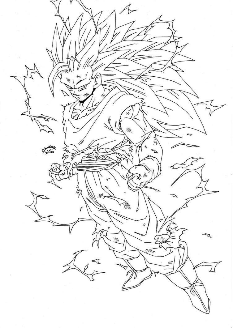 Dragonball Z - Regreso Goku Super Sayan 3 Lineart by ...