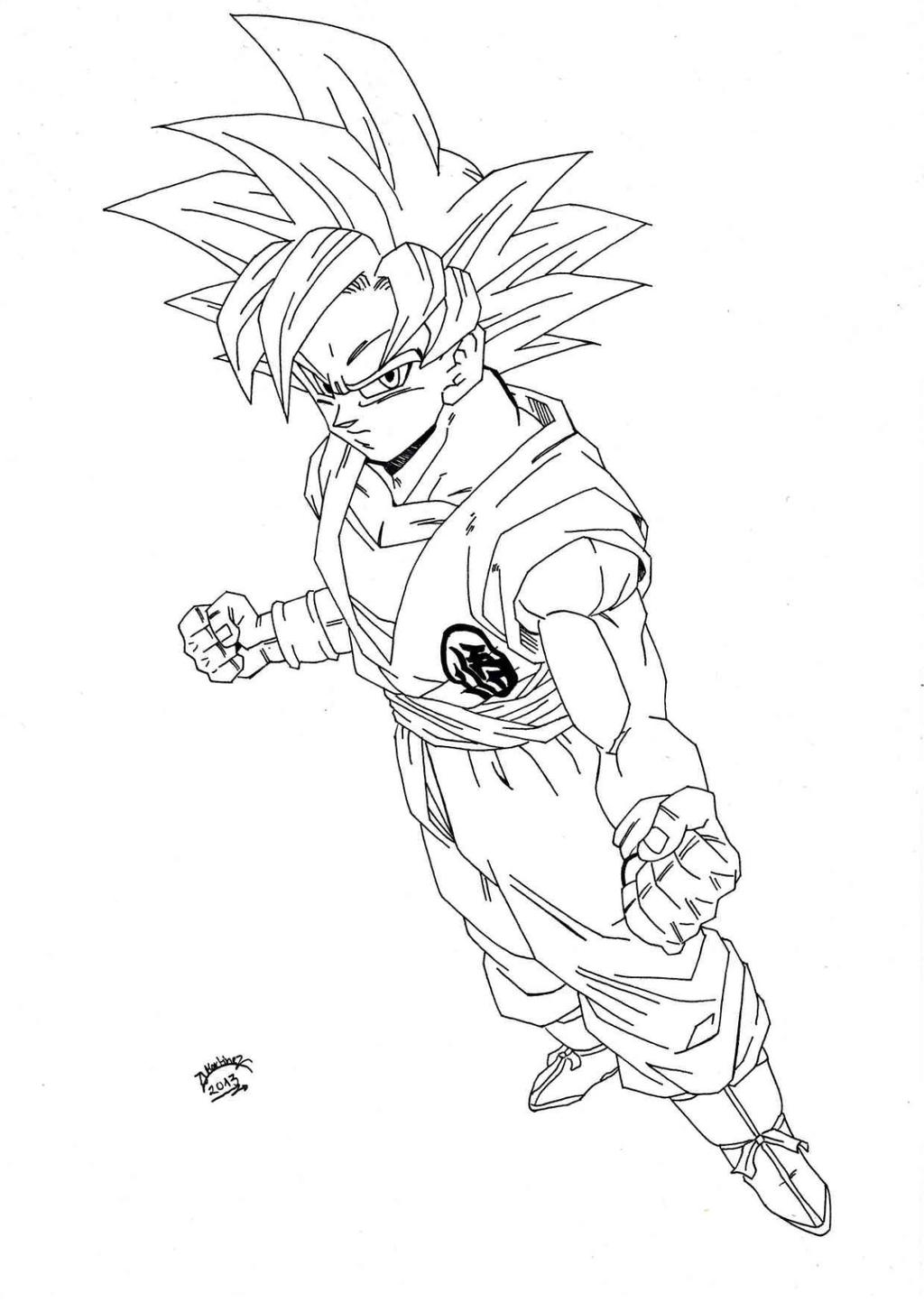 Dragonball z super sayan god lineart by triigun on for Dbz coloring page