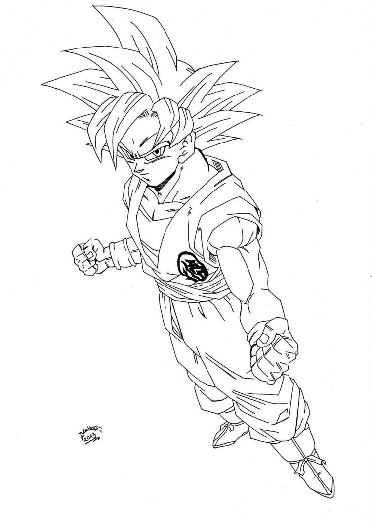 Dragonball z super sayan god lineart by triigun on for Dragon ball z goku coloring pages