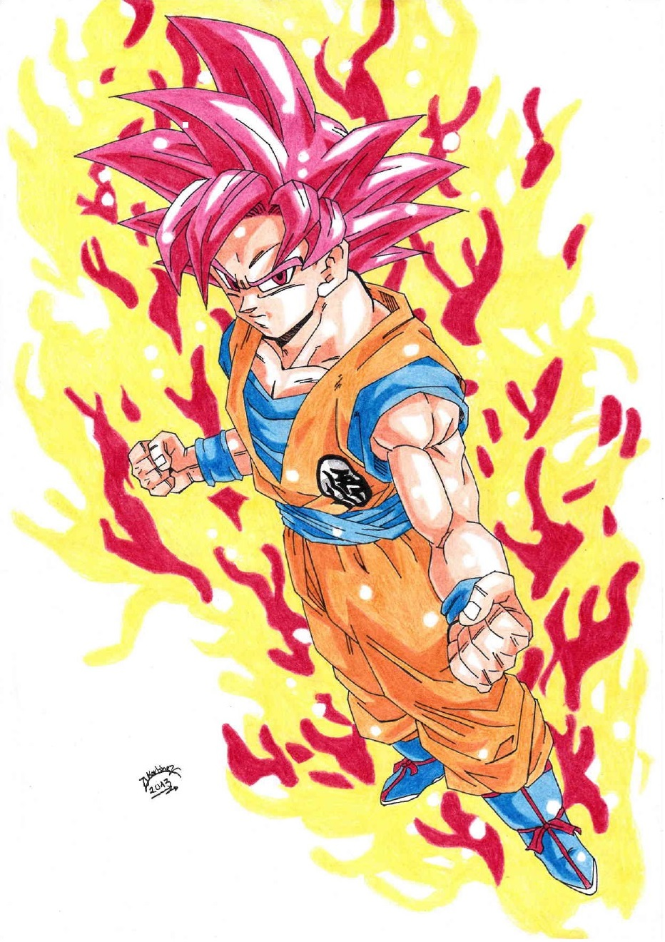 Super Saiyan God Drawing