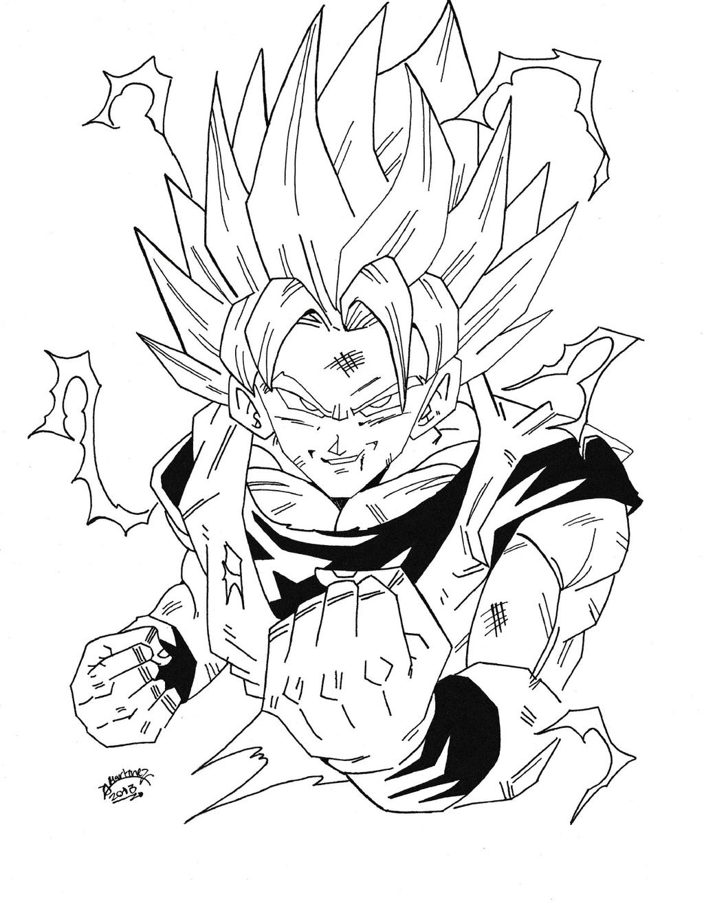 Dragonball z son goku super sayan 2 by triigun on deviantart for Dbz coloring pages goku