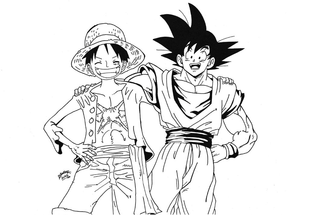 Dragonball z x one piece luffy and goku lineart by - Dragon ball one piece ...