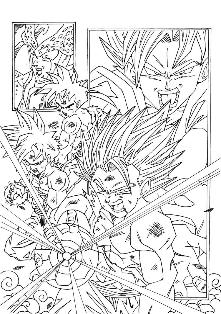 Dragonball z saga de cell lineart by triigun on deviantart for Dragon ball z cell coloring pages