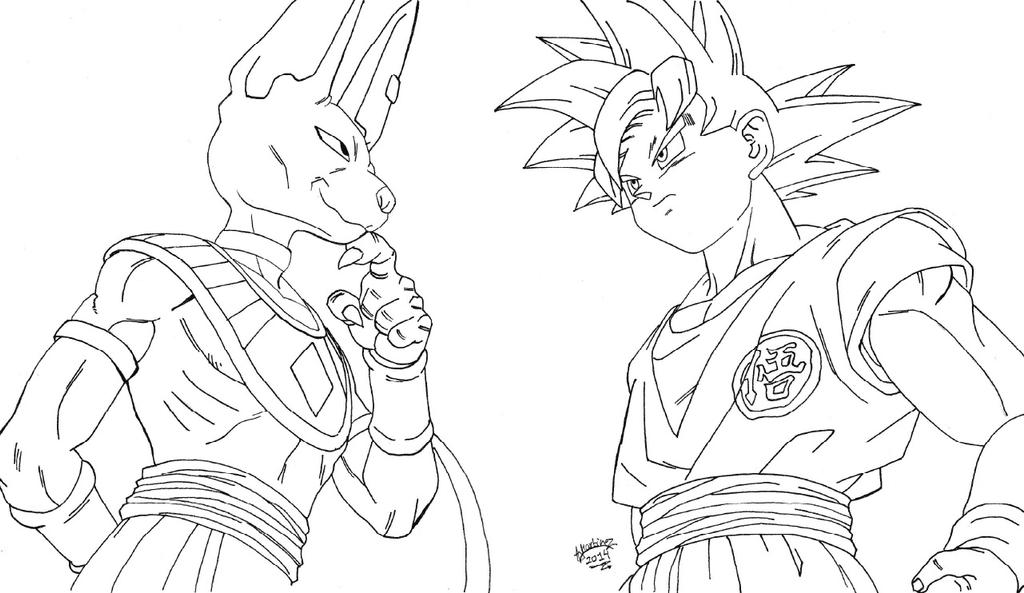 Lineart Goku VS Bills - Dragonball Z Battle of God by ...