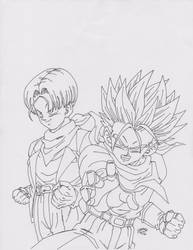 Lineart de Trunks Normal y SS by TriiGuN