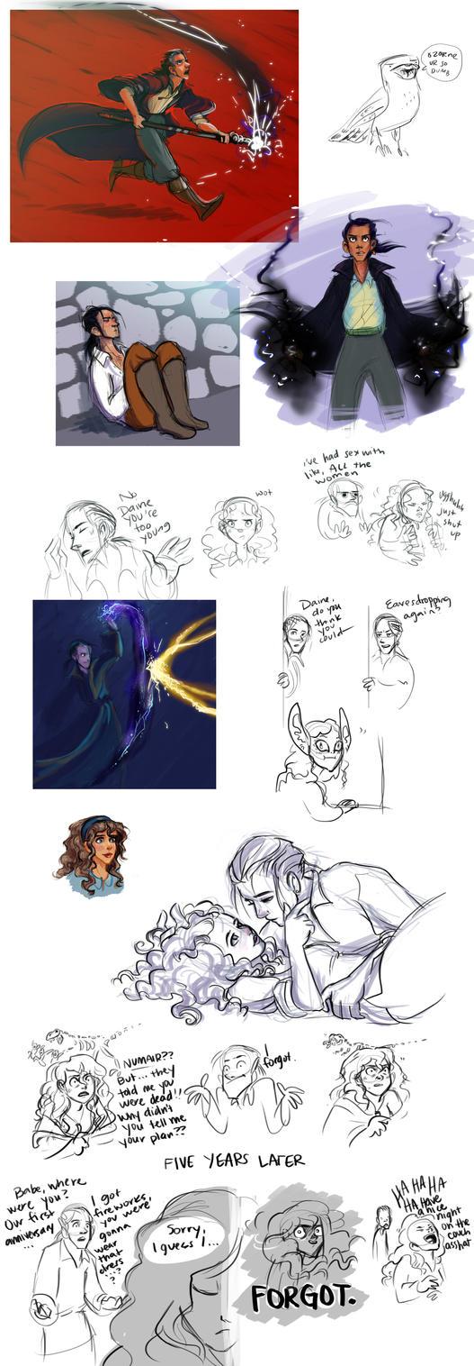 Numair + Daine sketchdump by Deisi