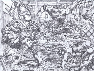 TMNT vs Shredder by emilcabaltierra