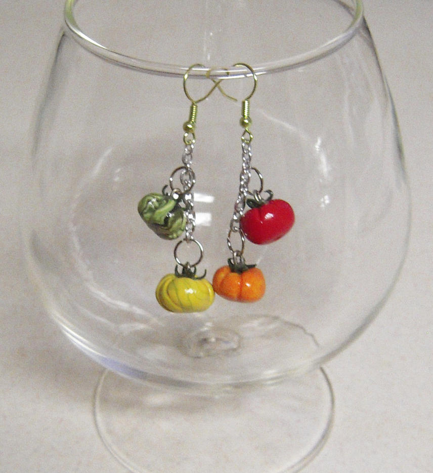 Heirloom Tomato Earrings by lily-inabottle