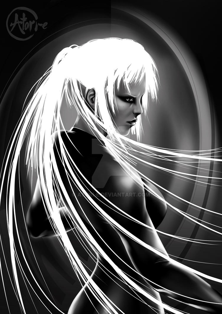 Leah Illustration #1 BW by Atori-e