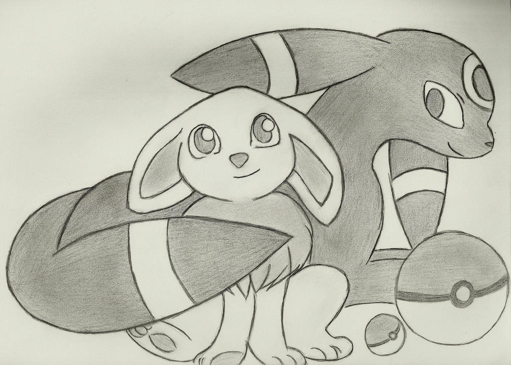 Mother Umbreon and her baby Eevee by SeraphinaSilverfang