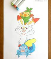 Galar Starter Pokemon by Die-Valquiria