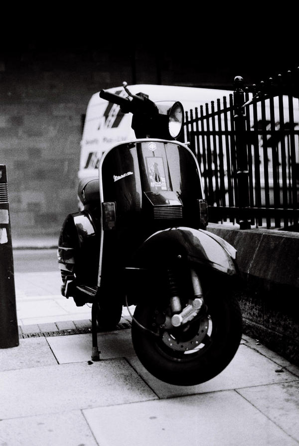 Vespa black and white by jamesisdead