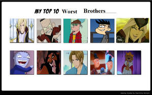 My Top 10 Worst Brothers by XxGreenNinjaChickxX